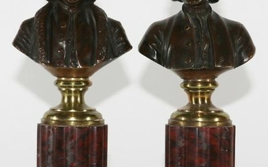 FRENCH BRONZE BUSTS, ROUGE MARBLE COLUMNS, 19TH C.