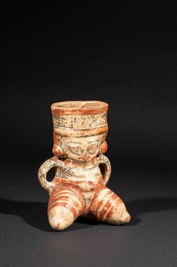 Femme assise Terre cuite polychrome Culture...