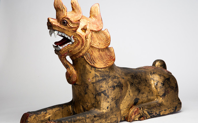 Figure, lion, wood, China