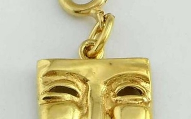 Fine 18Kt GOLD COMEDY THEATER FACE MASK PENDANT CHARM