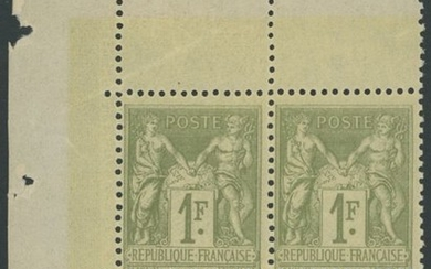 France 1883 - Sage, type II, 1 franc light olive, block of 4 - Yvert 82