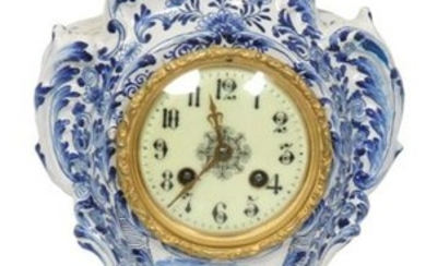 French Faience Delft Mantle Clock