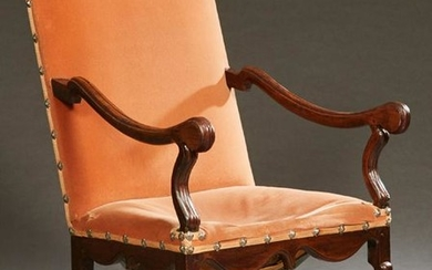 French Louis XIII Style Carved Walnut Fauteuil a la