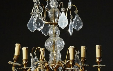 French Louis XV Style Bronze and Crystal Six Light