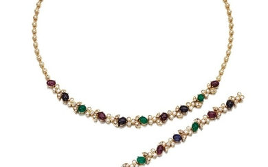 GEM SET AND DIAMOND DEMI-PARURE