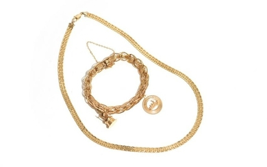 GOLD CHARM BRACELET AND NECKLACE, 30g