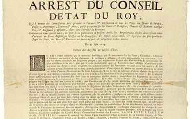 """GOLDEN COAST. 1724. BURGUNDY & BRESSE. RIGHTS OF WATERFRONTS, PASSENGES, BRIDGES prejudicial to trade. """"Order of the Council of the KINGDOM, appointing Commissioners to examine and verify all Toll Charges, Passages, Bridges, Crossings & others, which..."""