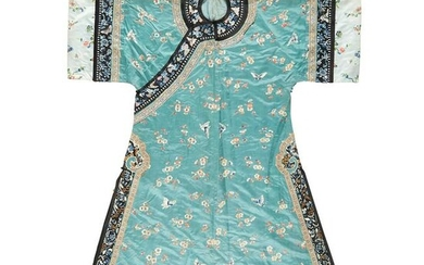 GREEN GROUND SILK EMBROIDERED LADY'S ROBE LATE QING