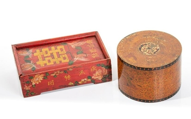 GROUP OF TWO POLYCHROME LACQUER PAINTED WOOD BOX