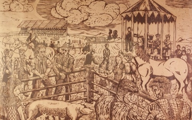 GT OR GJ (MODERN) WOODCUT Village fete with livestock, horse...