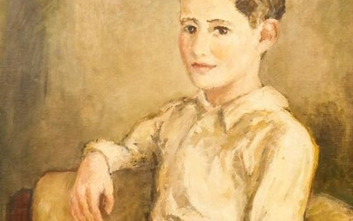 George Chann (1913-1995 Chinese) Seated Little Boy Oil