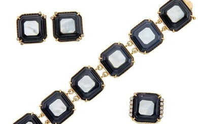 Gold, Black Onyx, Mother-of-Pearl and Diamond Bracelet, Pair of Earclips and Ring