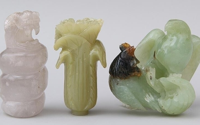 Group of (3) carved hardstone items. FR3SH.