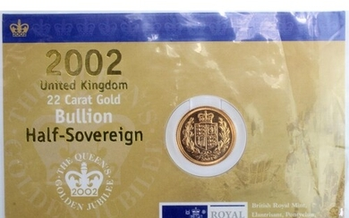 Half Sovereign 2002 BU in the Royal mint card