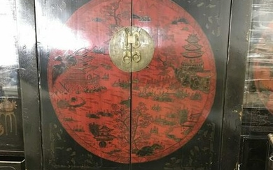 Hand Painted Hand Made Asian Cabinet