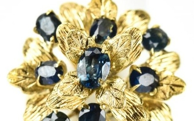 Handmade 14kt Gold & Sapphire Floral Cluster Ring