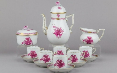 Herend Chinese Bouquet Raspberry Coffee Mocha Set for