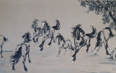 Ink painting - A large Chinese ink painting on paper - 《徐悲鸿-八骏图》Made after XU BEIHONG - China - Late 20th century