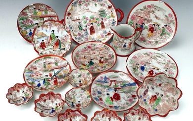 JAPANESE EXPORT DISHES, BOWL, CUPS