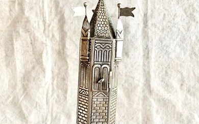Judaica - A magnificent large spice tower for Jewish ceremony havdalah - Similiar in museum - Silverplate - Jewish German artist- Germany - Early 20th century
