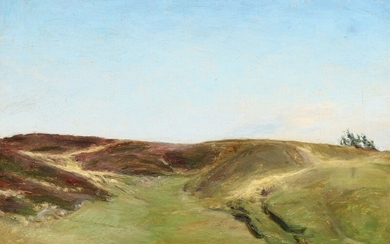 Julius Paulsen: Hills of heather in Rye. Signed and dated J. P. 86. Oil on canvas. 39.5×45.5 cm.