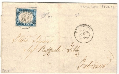 Kingdom 1863 - 15 c. light blue grey (11e) on letter to Fabriano, cancellation with double circle of Camerino - Sassone 2018
