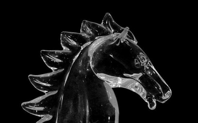 Large Crystal Glass Horse Head with Mane