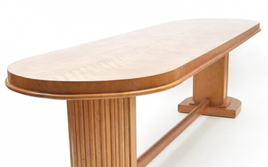Large long veneered wooden Art Deco table with...