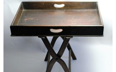 Late Victorian/ Edwardian oak butler tray with stand. With t...