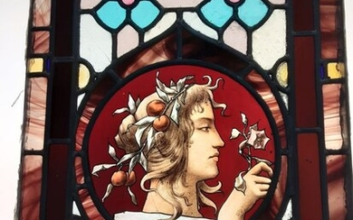 Leaded stained glass window panel - Art Nouveau - Stained glass - 1890-1919