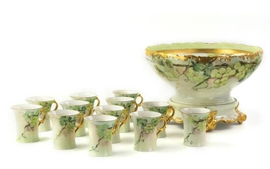 Limoges 14pc Grape Punch Bowl & Matching Cup Set