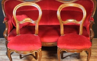 Living room: 1 sofa and 2 covered chairs (3) - Louis Philippe - Walnut - mid 19th century
