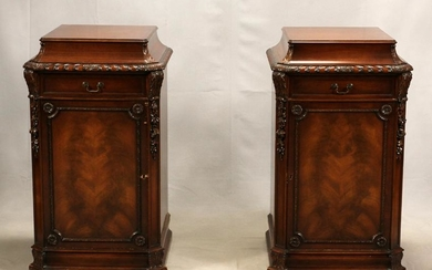 """MAHOGANY CARVED WOOD PEDESTAL CABINETS, PAIR H 40"""" W 23"""