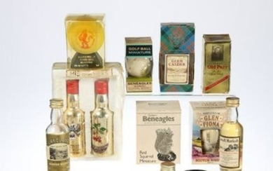 MINIATURE BOTTLE COLLECTION OF WHISKIES AND INCLUDING
