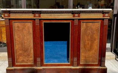 Mahogany and mahogany veneer sideboard, white marble top,...