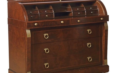 Mahogany cylinder bureau 3rd third of the 20th century, in neo-classical style, on skirting board without feet, 3 drawers sans travers flanked by facing supports with brass applications, above the supports 2 cantilevered drawers and the bureau with 8...