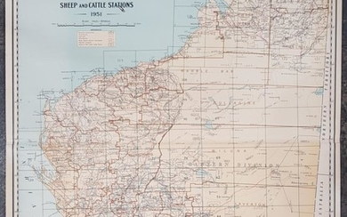Map of Western Australia Pastoral Stations, on canvas, by Lands & Surveys Department Perth 1951