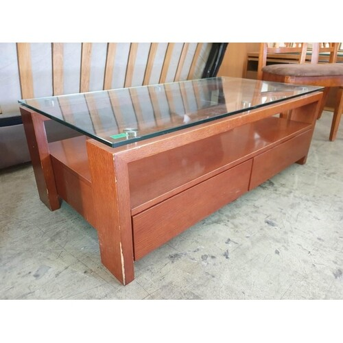 Modern Dark Cherry Wood Colour Coffee Table with 2 - Drawers...