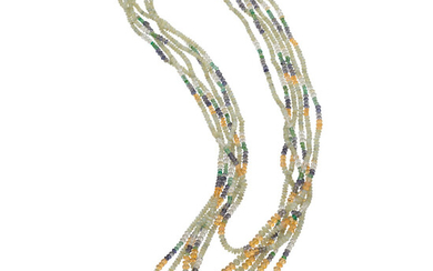 Multi-Stone, Gold Necklace The necklace is composed of a...
