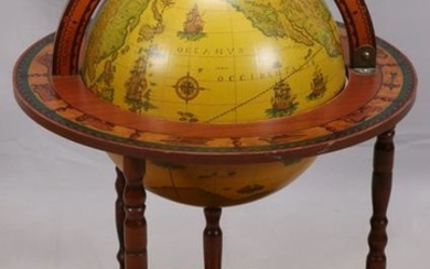 OLD WORLD STYLE, GLOBE/BAR ON STAND