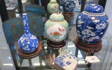 Oriental ceramics and wares including blue and white prunus ...