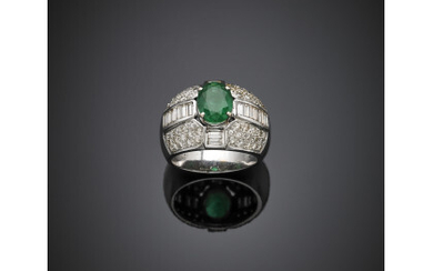 Oval emerald with round and baguette diamond white gold ring,...