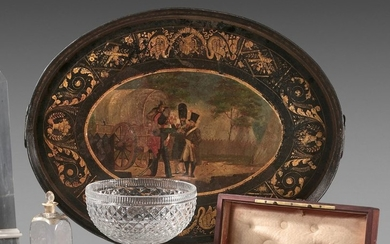 Oval tray with a high rim in painted...