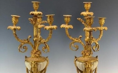 PAIR OF LOUIS XVI STYLE ORMOLU MOUNTED MARBLE CANDELARA