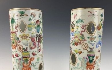 Pair Chinese Qing Dynasty Famille Rose Hat Stand Vase (2) - Porcelain - Bogu ( Antique) Theme - China - 19th century