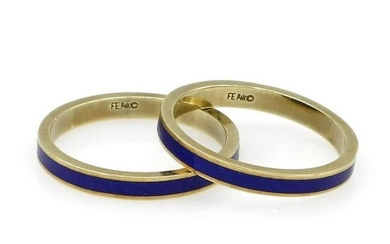 Pair of 14K Yellow Gold Blue Enamel Stack Rings
