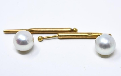 Pair of Cartier 14k Yellow Gold & Pearl Cuff Links