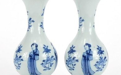 Pair of Chinese porcelain baluster vases, each hand