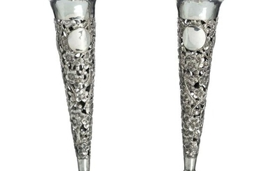 Pair of Chinese silver 'trumpet' vases
