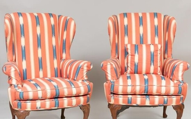 Pair of George II Style Mahogany Wing Chairs